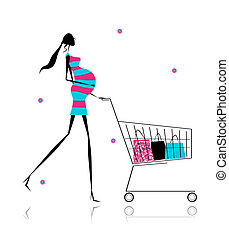 Pregnant woman with shopping bags for your design