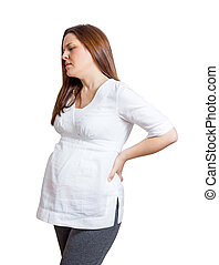 Pregnant woman with strong pain massaging her back