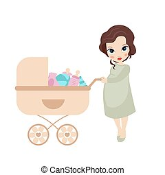 Pregnant woman with vintage baby ca