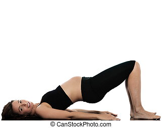 Pregnant Woman workout exercise - pregnant caucasian woman...
