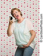 Pregnant Woman Yelling at Phone