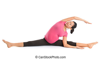 asian pregnant yoga position cat pose prenatal yoga