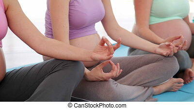 Pregnant women doing yoga