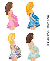 Pregnant women in fashion dresses set