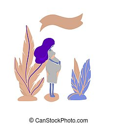 pregnant women in the garden vector illustration