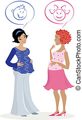 Pregnant women quess - Vector ilustration of two pregnant...