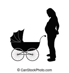 pregnant women with baby carriages vector illustration
