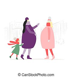 Pregnant Women with Child Talking on the city street. Winter Season. Happy pregnancy. Vector illustration