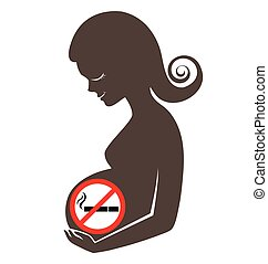 Pregnant women with prohibiting smoking sign