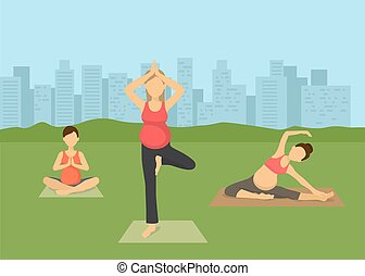 Pregnant women yoga in city vector illustration. Prenatal yoga, pilates class on green grass with cityscape. Female flat characters exercising, yogi sitting in lotus pose namaste.