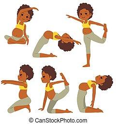 pregnant, yoga, dame a peau noire , poses