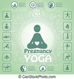 Pregnant yoga symbol. Infographics, yoga icons