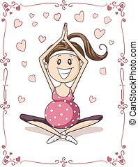 Pregnant Yoga Vector Cartoon - Illustration of pregnant...