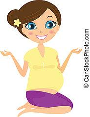 Pregnant yoga woman isolated no white