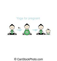Pregnant yoga, women group for your design