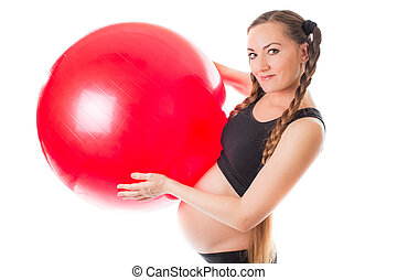 pregnant young woman doing exercise on fitball on white background The concept of Sport and Health