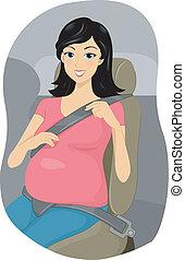 Pregnantn Girl Putting Seatbelt on