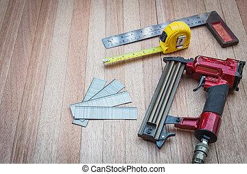 prego, cima, medida, madeira, ferramentas, fim, arma, ar