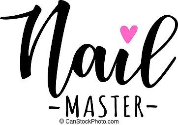 prego, lettering, mestre