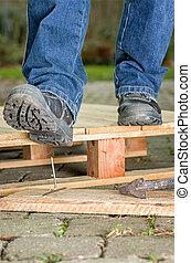 prego, segurança, trabalhador, botas, passos