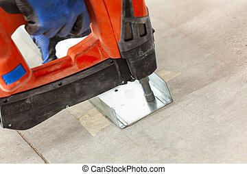 prego, tool., arma, gás, cordless