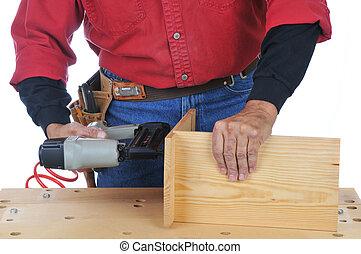 prego, usando, arma, woodworker