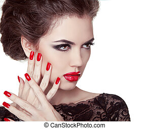 pregos, closeup., manicure, e, makeup., retro, mulher, com, vermelho, lips., fazer, cima., beleza, senhora, rosto, isolado, branco, experiência.