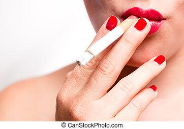 pregos, lábios, cigarro, v2, boca, dedo, fumar, vermelho