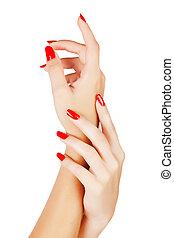 pregos, mulher, vermelho, mãos