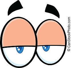 preguiçoso, caricatura, olhos