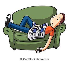 preguiçoso, homem, sono, ligado, sofá