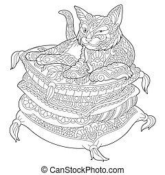 preguiçoso, travesseiros, gato