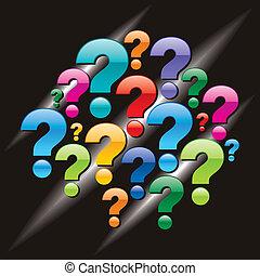pregunta, fondo negro, marca