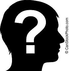 pregunta, macho, silueta, marca