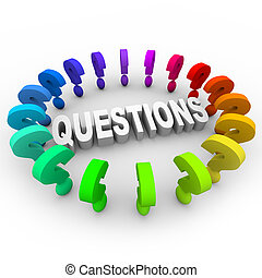 pregunta, palabra, alrededor, marcas