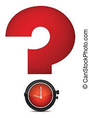 pregunta, reloj, rojo, marca