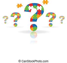 pregunta, rompecabezas, marca