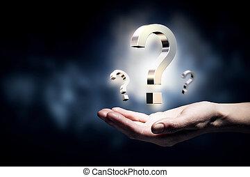 pregunta, tenencia de la mano, marca