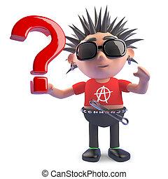 pregunta, tiene, punk, carácter, pregunta, marca, ilustración, hence, curioso, 3d