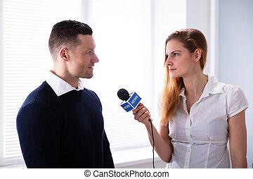 preguntar, reportero, noticias, pregunta, hombre de negocios