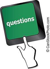 preguntas, computadora, primer plano, llave, teclado