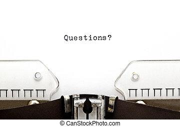 preguntas, máquina de escribir