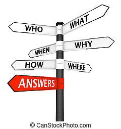 preguntas, y, respuestas, poste indicador