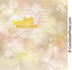 pregunte, recibir, creer, palabra, nube