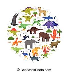prehistórico, animales, composición, redondo, iconos