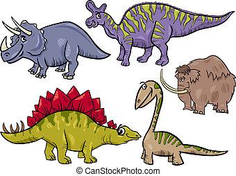 prehistórico, conjunto, caricatura, ilustración