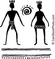 prehistórico, sketch., personas., tinta, vector, hombre, ...