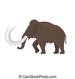Prehistoric animal mammoth icon