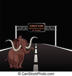 Prehistoric animal on highway - Comical overhead gantry sign...