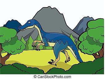 Prehistoric animal scene